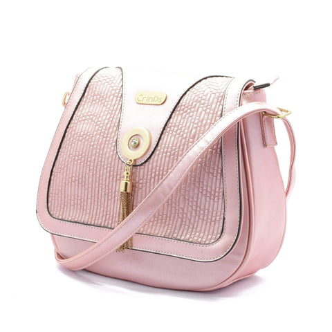 Crinds designer Metal Tessel Pink Flap Sling Men Women Ladies Girls Handbags