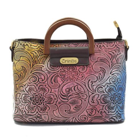 Crinds designer Multi Color Floral Embossed Brown Handbag Men Women Ladies Girls Handbags