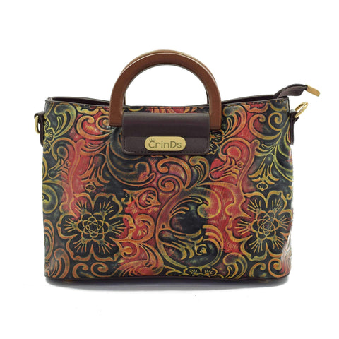 Crinds designer Multi Color Floral Embossed Tan Handbag Men Women Ladies Girls Handbags