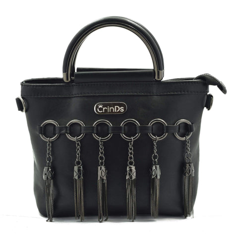 Crinds designer Multi Ring Black Handbag Men Women Ladies Girls Handbags