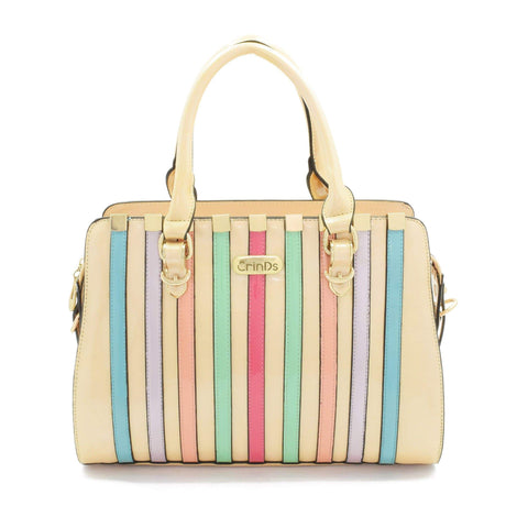 Crinds designer Multi Stripe Beige Handbag Men Women Ladies Girls Handbags