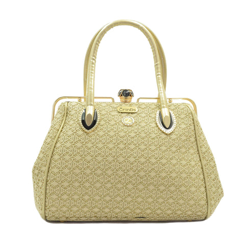 Crinds designer Net & Shimmer Handbag - Golden Men Women Ladies Girls Handbags