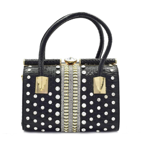 Crinds designer Premium Black Embellished Stiff Duffel Bag Men Women Ladies Girls Handbags