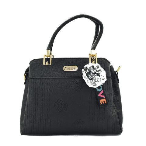 Crinds designer Rose Pattern Medium Black Handbag Men Women Ladies Girls Handbags