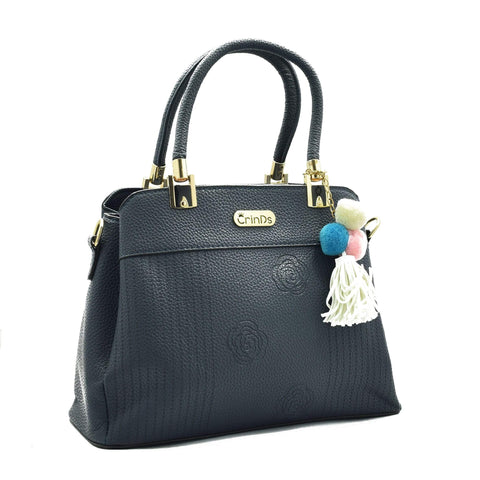 Crinds designer Rose Pattern Medium Blue Handbag Men Women Ladies Girls Handbags