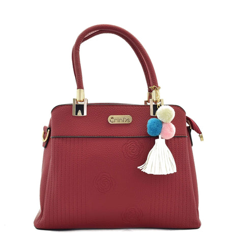 Crinds designer Rose Pattern Medium Red Handbag Men Women Ladies Girls Handbags
