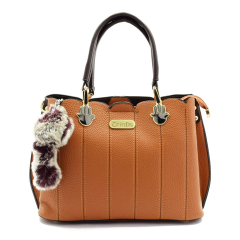 Crinds designer Semi Cut Brown Structured Handbag Men Women Ladies Girls Handbags