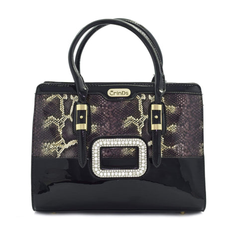 Crinds designer Shiny snake print handbag Men Women Ladies Girls Handbags