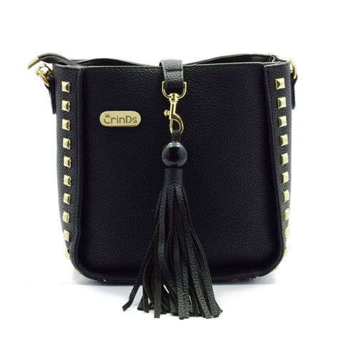 Crinds designer Side Stud Black Sling Satchel Men Women Ladies Girls Handbags