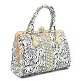 Crinds designer Silver rose print Embellished diamond knob Handbag Men Women Ladies Girls Handbags