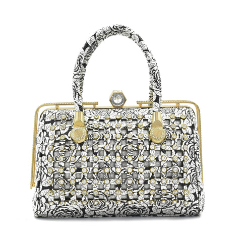 Crinds designer Silver Rose Square cutout embellished handbag Men Women Ladies Girls Handbags