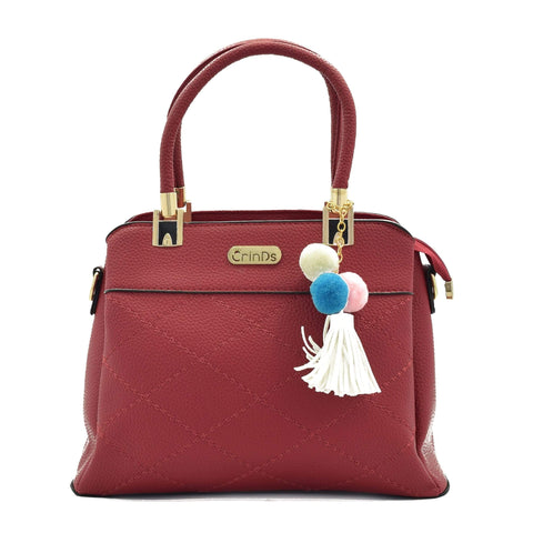 Crinds designer Stich Design Medium Red Handbag Men Women Ladies Girls Handbags