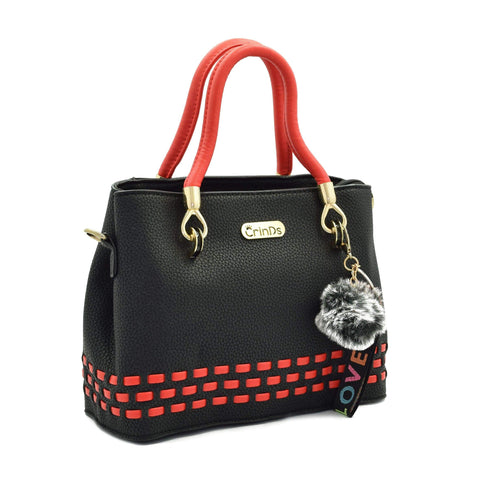 Crinds designer Stitch Lines Base Black Handbag Men Women Ladies Girls Handbags