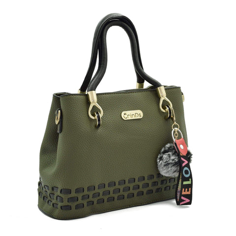 Crinds designer Stitch Lines Base Green Handbag Men Women Ladies Girls Handbags
