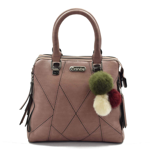 Crinds designer Stitched lines Peach leather handbag Men Women Ladies Girls Handbags