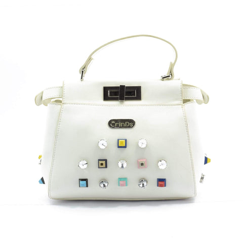 Crinds designer Stone Stud White Dual Side Handbag Men Women Ladies Girls Handbags