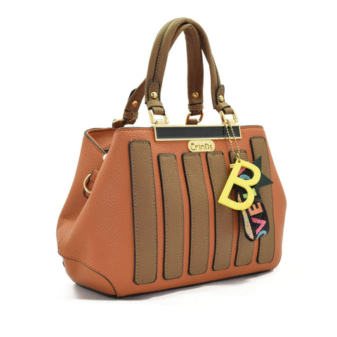 Crinds designer Strap Star Brown Handbag Men Women Ladies Girls Handbags