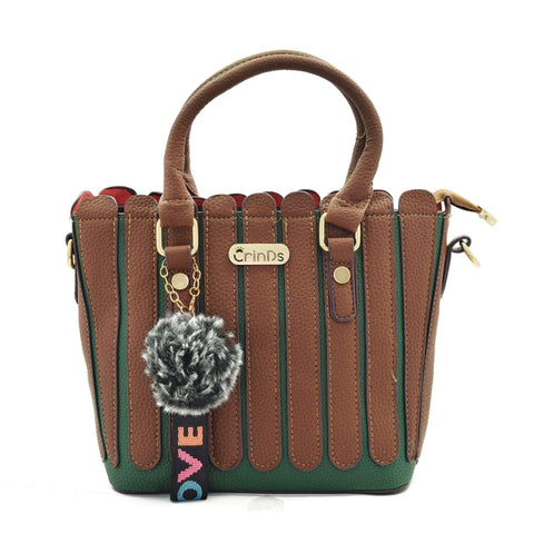 Crinds designer Strips Fence Dark Brown handbag Men Women Ladies Girls Handbags