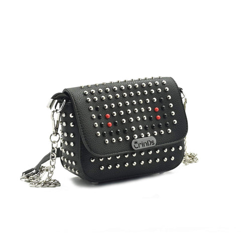 Crinds designer Stud Design Black Small Sling Men Women Ladies Girls sling