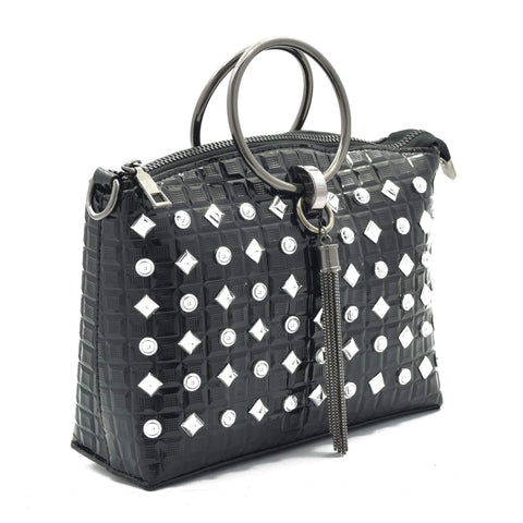 Crinds designer Studed Design Black Handbag Men Women Ladies Girls Handbags