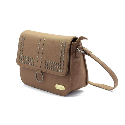 Crinds designer Studed Sling Brown Bag Men Women Ladies Girls Handbags
