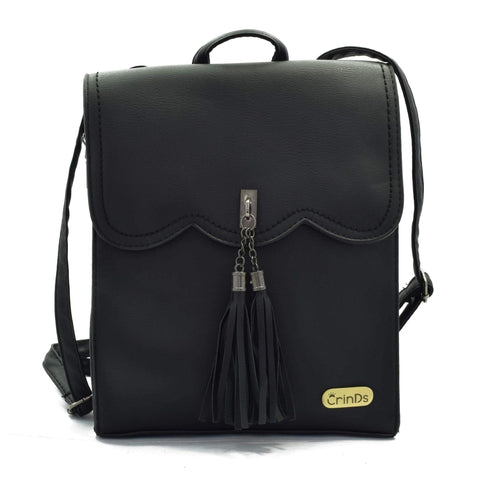 Crinds designer Tassel formal Black backpack Men Women Ladies Girls Handbags