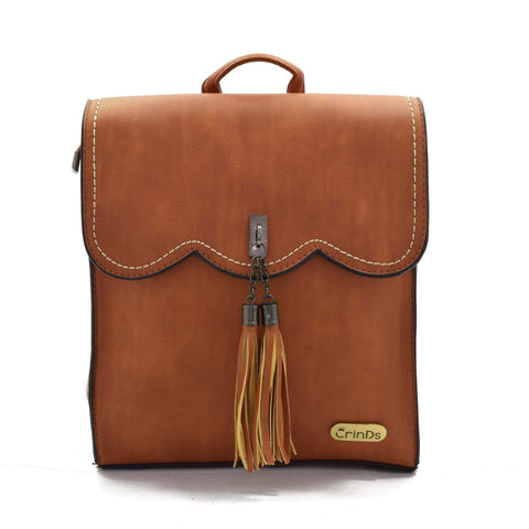 Crinds designer Tassel formal Brown backpack Men Women Ladies Girls Handbags