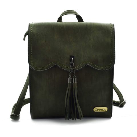 Crinds designer Tassel formal Green backpack Men Women Ladies Girls Handbags