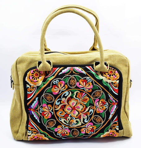 Crinds designer Traditional canvas embroidery handbag Men Women Ladies Girls Handbags