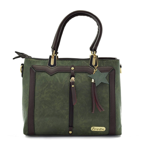 Crinds designer Trendy Formal Green Handbag Men Women Ladies Girls Handbags