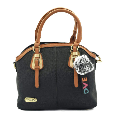 Crinds designer Two Buckle Classy Black Medium Handbag Men Women Ladies Girls Handbags