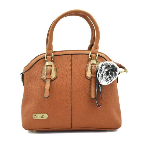 Crinds designer Two Buckle Classy Brown Medium Handbag Men Women Ladies Girls Handbags