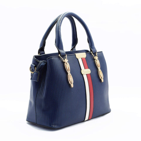 Crinds designer Two Stripes Structured Blue Handbag Men Women Ladies Girls Handbags