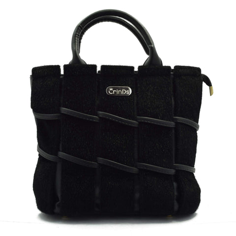Crinds designer Velvety fur Strips Black handbag Men Women Ladies Girls Handbags
