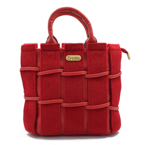 Crinds designer Velvety fur Strips Red handbag Men Women Ladies Girls Handbags