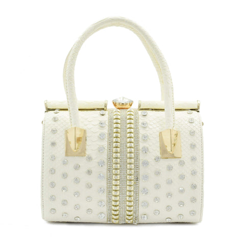 Crinds designer White Embellished Stiff Duffel Bag Men Women Ladies Girls Handbags