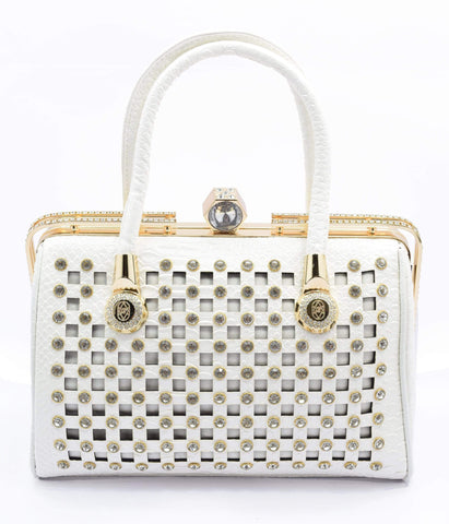 Crinds designer White Square cutout embellished handbag Men Women Ladies Girls Handbags