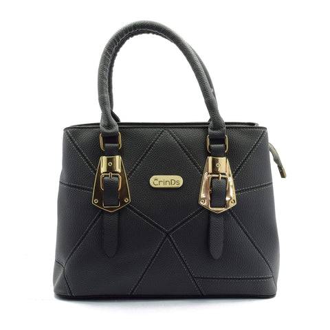 Crinds designer Zig Stitch Black Handbag Men Women Ladies Girls Handbags
