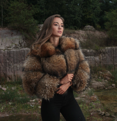 Bubble Coat Raccoon Fur Jacket in Natur