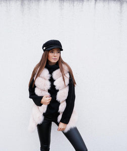 Luxury Fox Fur Vest in Beige