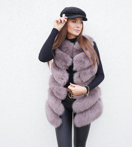 Luxury Fox Fur Vest in Braun