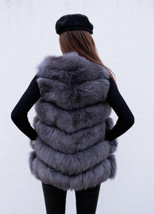Luxury Fox Fur Vest in Dunkelgrau