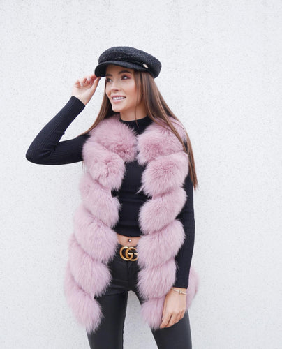 Luxury Fox Fur Vest in Rosa