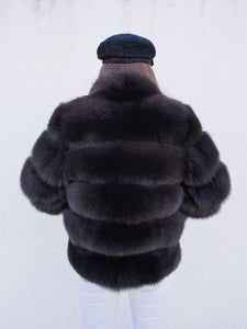 ICON Fox Fur Jacket in Dunkelbraun