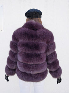 ICON Fox Fur Jacket in Weinrot/Lila