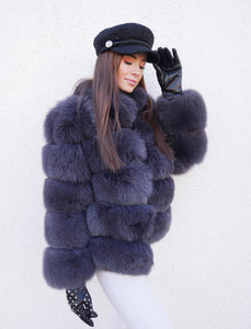 ICON Fox Fur Jacket in Dunkelgrau