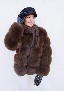 ICON Fox Fur Jacket in Hellbraun