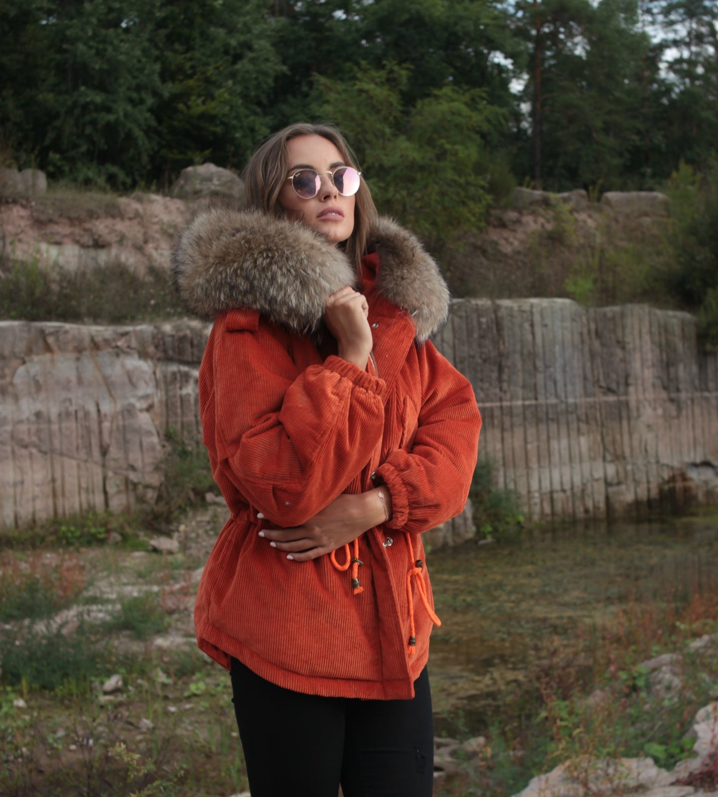 Cord Echt-Pelz Jacke in Orange
