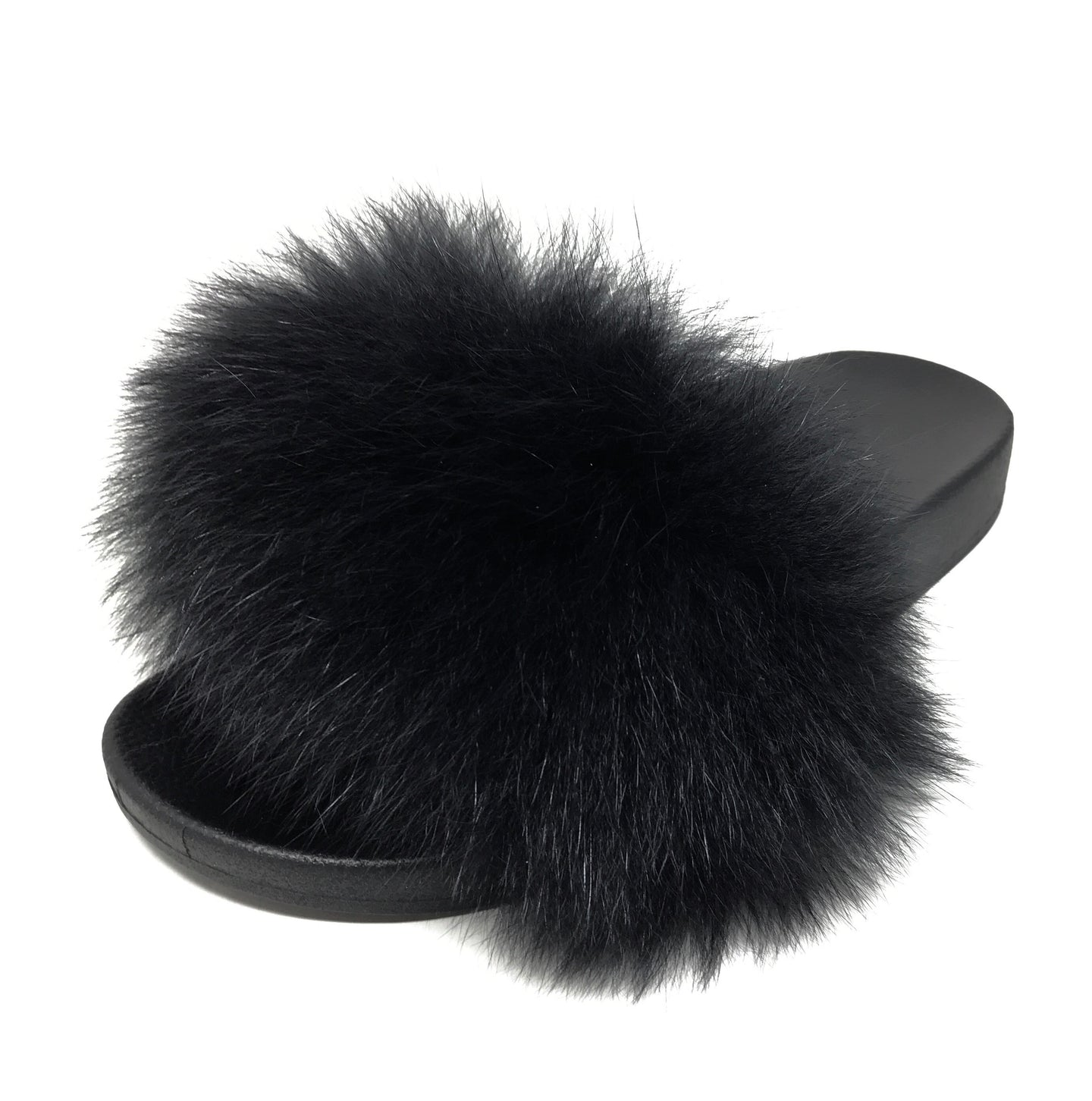 Icon Fox Fur Slipper in Schwarz