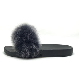 Icon Fox Fur Slipper in Ice Schwarz